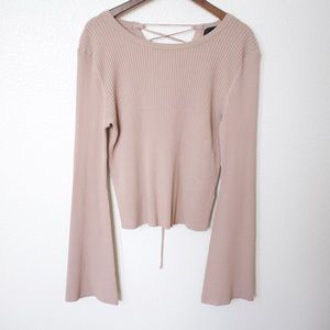 "INTERMIX Blush Nude ""Mia"" Long Sleeve Top, Size S"